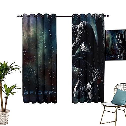 Paire de rideaux occultants pour garder au chaud Motif Spiderman Noir 213,4 x 137,2 cm