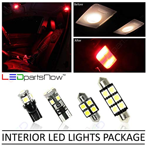LEDpartsNow Interior LED Lights Replacement for 2013-2019 Honda Civic Accessories Package Kit (8 Bulbs), RED