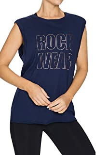 Rockwear Activewear Women's Relax Turn Back Tank French Navy 6 from Size 4-18 for Singlets Tops