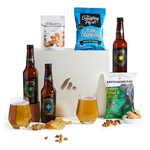 Classic Beer Hamper, Beer and Bar Snacks Hampers, Craft Ale Gifts and Gift Hamper Box