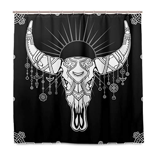 Emoya - Cortina de ducha con ganchos, diseño de calavera de toro y mandala de poliéster antimoho para baño (180 x 180 cm)