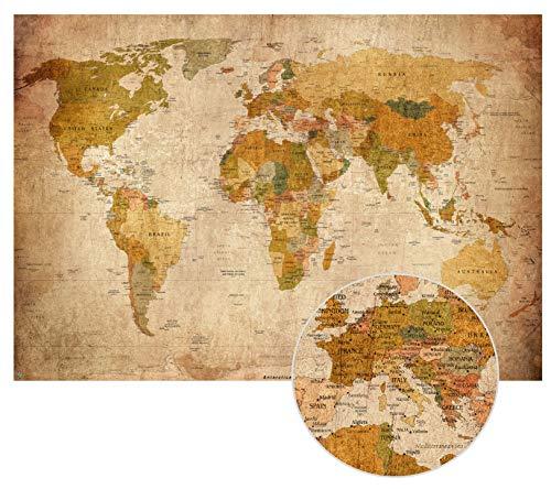 Alte Weltkarte im Vintage look XXL Poster HD Wandbild 140cm x 100 cm Retro Wand-deko worldmap| Fotoposter Landkarte antikes Wandbild Atlas |
