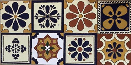 Talavera Ceramic Relief Mexican Tile 6X6, 8 Mixed Designs (NO Stickers)