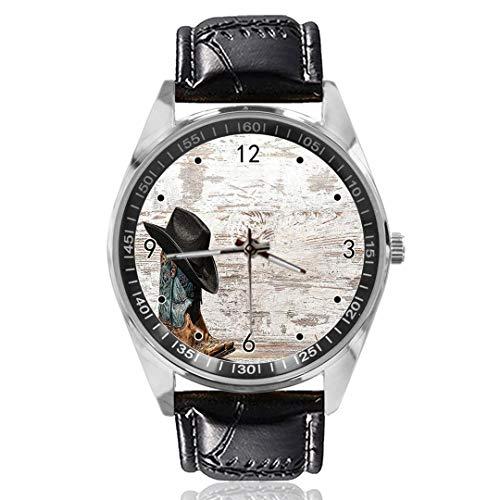 Cowboyhut und Cowgirlstiefel Custom Design Analog Quarz Uhren Silber Zifferblatt Klassische Lederband Damen Herren Armbanduhr