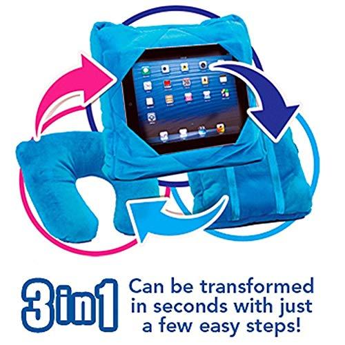 Kids Tablet Holder Car Mount Travel Neck Cushion 3 in 1 Smart Pillow Bean Bag (Blue)