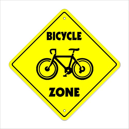 """Bicycle Crossing Sign Zone Xing   Indoor/Outdoor   12"""" Tall Plastic Sign bike ride mountain road tire pump tube"""