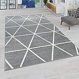 Paco Home Wohnzimmer Teppich, Moderne Pastell Farben, Skandinavischer Stil, Rauten Muster, Grösse:120x170 cm, Farbe:Grau