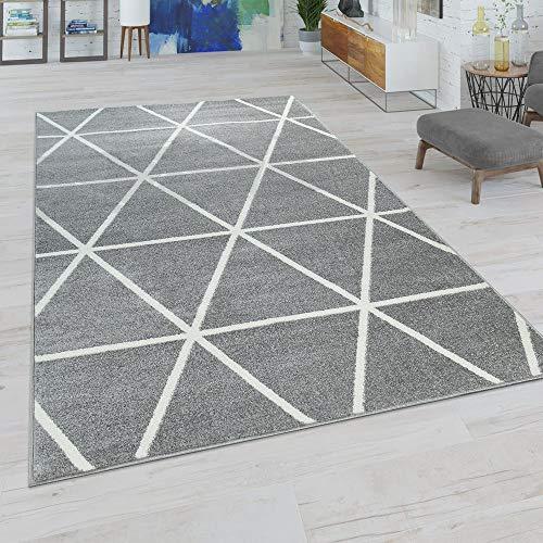 Paco Home Wohnzimmer Teppich, Moderne Pastell Farben, Skandinavischer Stil, Rauten Muster, Farbe:Grau, Grösse:240x320 cm