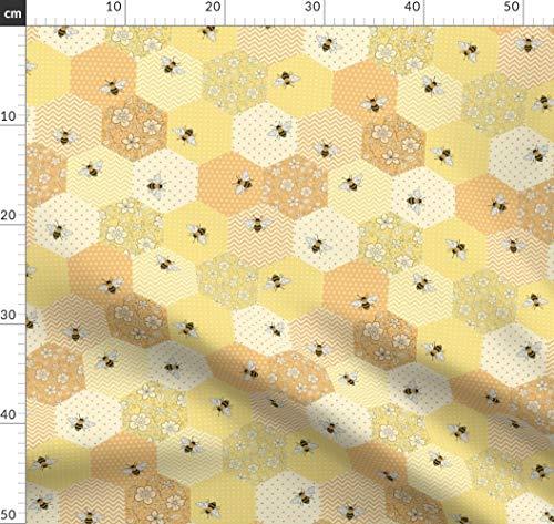 Bienen, Wabe, Patchwork, Blumen, Wabenmuster, Gelb Stoffe - Individuell Bedruckt von Spoonflower - Design von Hazelfishercreations Gedruckt auf Baumwollstoff Klassik
