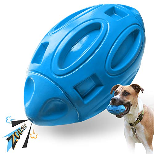 EASTBLUE Squeaky Dog Toys for Aggressive Chewers: Rubber Puppy Chew Ball with Squeaker Almost Indestructible and Durable Pet Toy for Medium and Large Breed