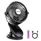 BRIGENIUS Clip on Stroller Fan, Battery Operated Portable Mini Desk Fan Rechargeable, USB Powered Clip Fan for Baby Stroller Office Outdoor Travel, Black