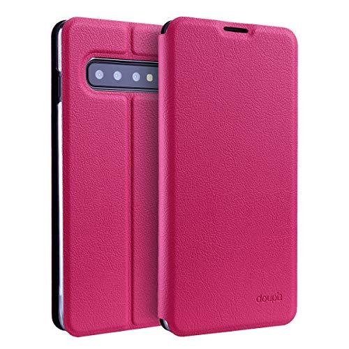 doupi Flip Hülle für Samsung Galaxy S10, Deluxe Schutz Hülle mit Magnetischem Verschluss Cover Klappbar Book Style Handyhülle Aufstellbar Ständer, rot pink