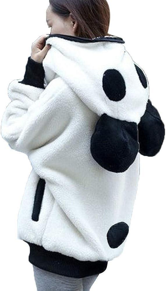 Panda Plush Sweatshirt Women's Winter Hoodie Zipper Long Sleeve Pullover Junior Girls Cosplay Shirts Jacket Coats