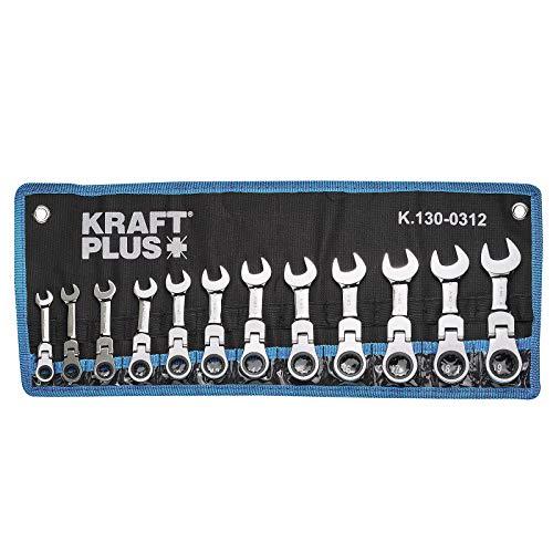KRAFTPLUS® K.130-0312 Gelenk Ratschenringschlüssel-Satz, extra kurz, SW 8-19 mm - 12-tlg.