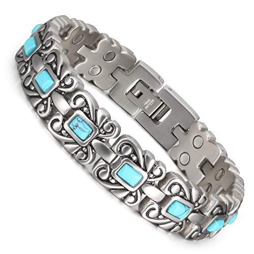 Wollet Jewelry - Pulsera de plata tibetana y turquesa, de 18,5 cm, para mujer, terapia magnética, incluye 2 piedras de turquesa