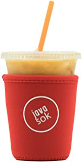 JAVA SOK Reusable Iced Coffee Sleeve - Cup Insulator Sleeve for Cold Beverages and Neoprene Cup Holder | Ideal for Starbucks Coffee, McDonalds, Dunkin Donuts (Red, Small 16-18oz)