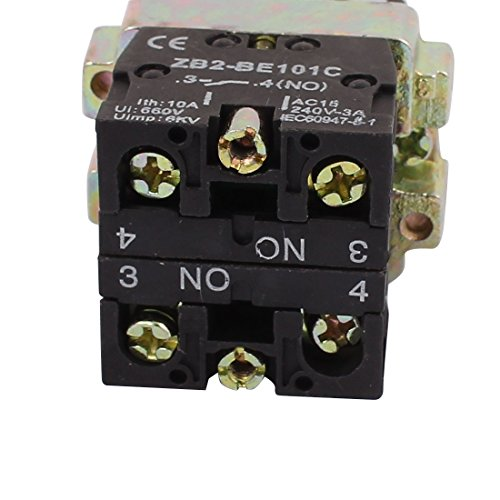 uxcell 2 Position Rotary Select Selector Switch 1 NO N/O 10A 600V ZB2-BE101C