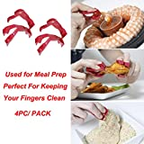 Buffet Tongs,Food Clip Finger Food Utensils Eating Trongs also Used for Meal Prep Perfect for Keeping Your Fingers Clean (Red)