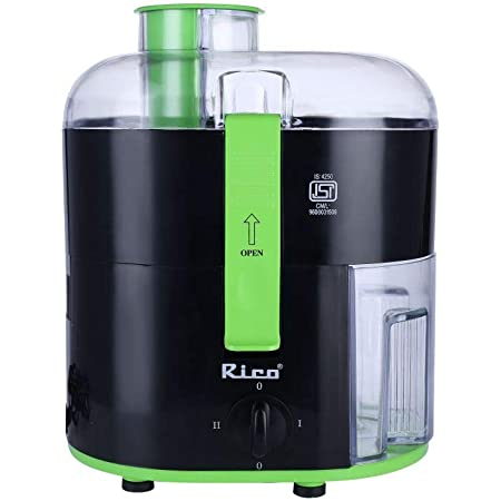 Rico Electric Juicer for Fruits and Vegetables with Japanese Technology, 350 Watt, 2 Year Replacement Warranty I Black I Made In India