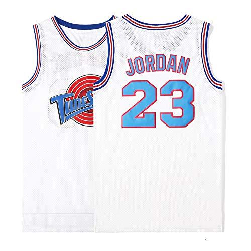 WELETION Película Espacial Camiseta de Juego de Baloncesto de Jersey de tamaño de Hombre# 23 Jordan Blanco L