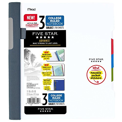 "Five Star Advance Spiral Notebook, 3 Subject, College Ruled Paper, 150 Sheets, 11"" x 8-1/2"", White (73142)"