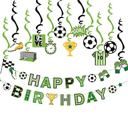 Decoraciones de Fiesta de Fútbol, Pancartas de Feliz Cumpleaños, Decoración de Remolino Colgante, Decoraciones para Fiesta de Cumpleaños, para Fiesta de Cumpleaños, Fiesta de Fanático del Fútbol
