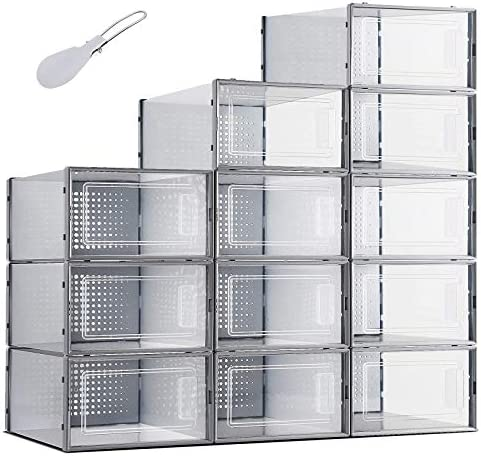 12 Pack Women Shoe Boxes Clear Plastic Shoebox Stackable Storage Containers with Lids for Sneaker product image