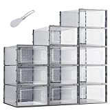 Tzenyi 12 Pack Shoe Boxes Clear Plastic Shoebox Stackable Storage Containers with Lids for Sneaker Shoe Organizer Bins, Drawer Includes One Shoehorn Need Assembly