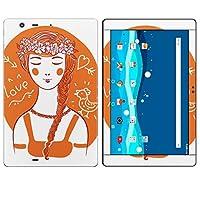 igsticker Qua tab PZ LGT32 全面スキンシール タブレット tablet LGエレクトロニクス シール ステッカー ケース 保護シール 背面 015986 女の子 花冠 オレンジ