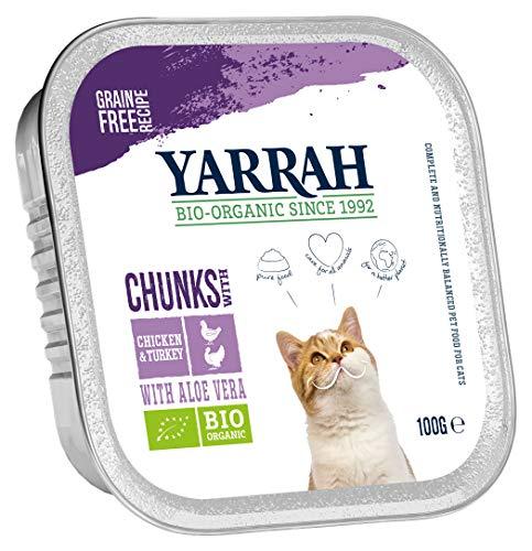 Yarrah Bröckchen Lot de 16 boîtes de Nourriture Bio pour Chat 100 g (16 x 0,1 kg)