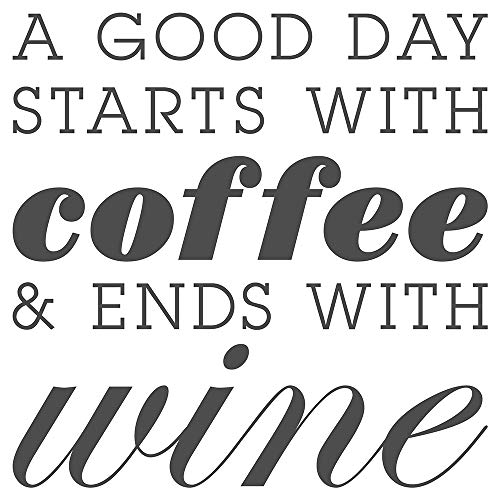 dekodino® Sticker mural – – Sticker mural cuisine Inscription A Good Day STARTS with coffee and Ends with Wine ludique inscription en anglais Décoration Murale boissons Café alcool Vin Décoratio