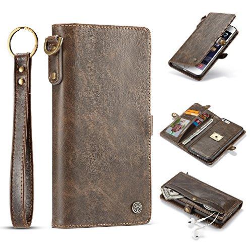 liyuzhu For Caja de la Carpeta iPhone 6 Plus, Cuero de Handmake Dos en Uno Multi-Funcional Estuche Protector Estilo Retro, extraíble TPU + PC Carcasa con Correa (Color : Marrón)
