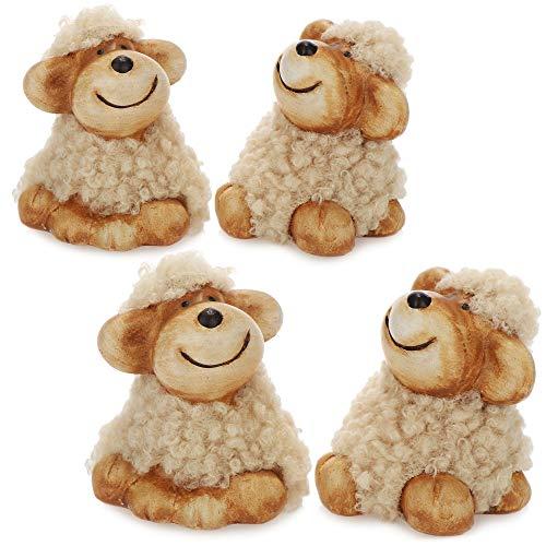 com-four® 4X Deko-Schaf mit Kuschelfell - Dekofiguren für die Osterdekoration - Oster-Schaf mit braunem Fell [Auswahl variiert!] (braun - klein)