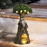 La Jolíe Muse Gartendeko Solar LED lächelnder Großvater Baum Gartenfigur Geschenk aus Kunstharz Weihnachten Deko Geschenk zum Muttertag