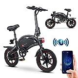 DYU Bicicleta eléctrica Ebike, Bicicleta eléctrica Plegable, Motor de 250 W, batería de 10 Ah, Alcance de hasta 25 km/h, Carga máxima de 120 kg, Plegable