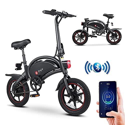 DYU Bicicletta Elettrica Pieghevole,14 Pollici Portatile E-bike,250W Bici Elettrica Pedalata Assistita con App Intelligenti,Compatta Portatile,Unisex Adulto(Nero)