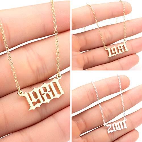 quanju cheer Geburtsjahr Nummer 1980-2019 Edelstahl Geburtstag Nummer Anhänger Halskette Geschenk Stahlkette Halskette Schmuck Silber 2006#