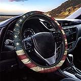 GLENLCWE Vintage American Flag Print Steering Wheel Cover for Women Men,Patriotic Steering Wheel Protector Decorative Universal