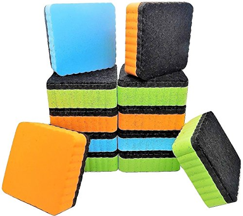 Premium Magnetic Dry Erase Erasers | 12-Pack | Magnetic Whiteboard & Chalkboard Erasers | Dry Erasers for White Boards | Perfect Erasers for the Classroom, Home or Office!