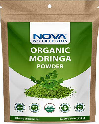 Nova Nutritions Certified Organic Moringa Oleifera Leaf Powder 16 OZ (454 gm) - Superfood Green Powder
