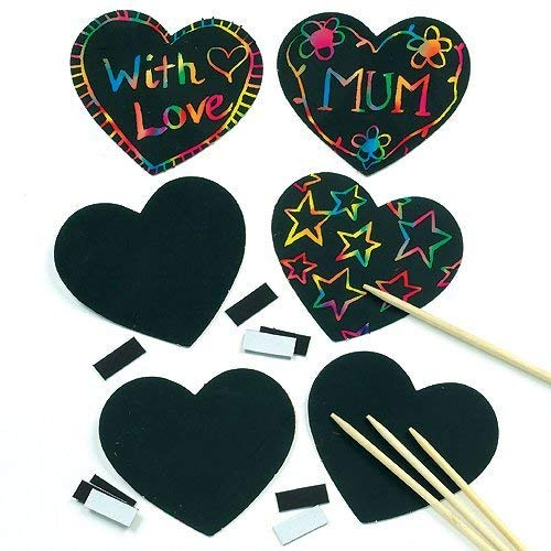 Baker Ross Kratzbild-Magneten - Herz - scratch art für Kinder zum Basteln ideal zum Valentinstag und Muttertag (10 Stück)