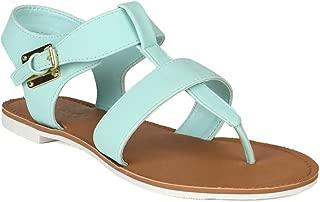 Women Nubuck T Strap Gladiator Ankle Strap Thong Flat Sandal AH95