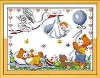 刺繡スターターキット刻印クロスステッチキット初心者エンジェルベイビーは、簡単で面白いプレプリントパターン16x20インチのDIY11CT刺繡のために来ています