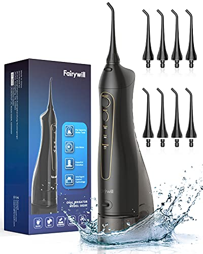 Water Flossers for Teeth, Fairywill 300ML Cordless Portable Electric Water...