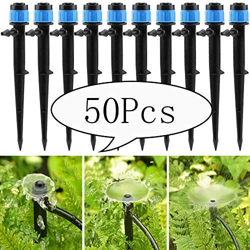 Homo Trends Lot de 50 goutteurs d'irrigation à 360 degrés avec connecteur réglable pour tuyau de 4/7 mm (chapeau bleu)