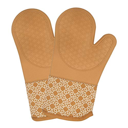 FERLLYMI Heat Resistant Silicone Shell Kitchen Oven Mitts for 500 Degrees with Waterproof, Set of 2 Oven Gloves with Cotton Lining for BBQ Cooking Set Baking Grilling Barbecue Microwave Orange