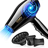 Hair Dryer, CONFU 1875 Watt Professional Hairdryer with Diffuser, Negative Ion Fast Drying Blow Dryer, Ceramic Tourmaline AC Motor Hairdryer with 2 Concentrator Nozzles for Women