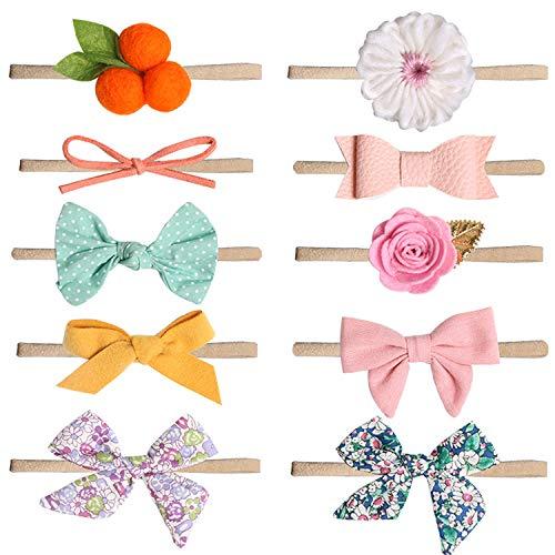 COUXILY Cintas Pelo Bebe Niña 10 Pcs Multicolor Suave Elásticas Diademas Bebe Niña Recien Nacida Turbantes Para Bebe Niñas (B)