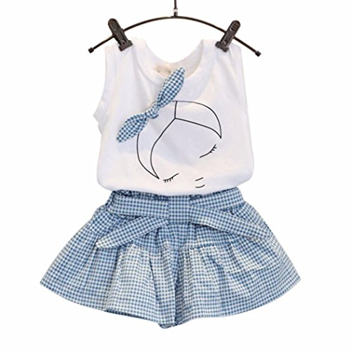 FEITONG Kids Girls Cute Bow Girl Pattern Shirt Top Grid Shorts Set Clothing (Age:2-3Y)