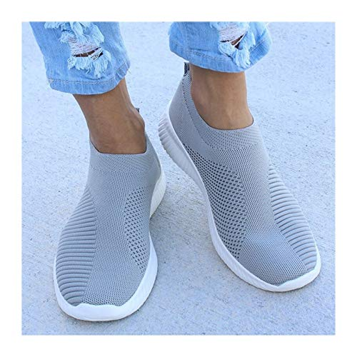 XUENING Mujeres Plana resbalones en Zapatos Blancos Mujer Liviana Zapatillas Blancas de Verano otoño de Verano Zapatos de Pisos Casuales (Color : Grey, Shoe Size : 10)
